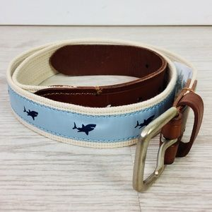 J. Crew Leather and Canvas Shark Belt Size 34